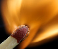 Macro of a match. Fantastic detail of a match at the moment of ignition Stock Image