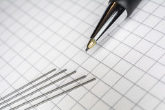 Macro Of A Mechanical Pencil With 5 Leads On Squared Paper 1 Stock Image