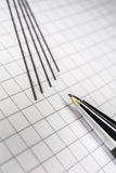 Macro Of A Mechanical Pencil With 5 Leads On Squared Paper 2 Royalty Free Stock Image