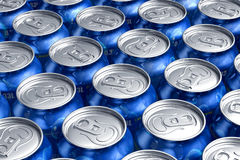Macro of metal cans with refreshing drinks. Macro of blue metal cans with refreshing drinks or beer Stock Photos