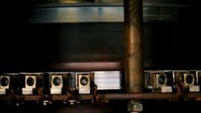 Turbine blades activate generators producing electricity. Macro metal turbine blades activate generators producing electricity at water power plant department stock video footage