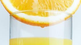Macro metraggio 4k delle goccioline del succo che cadono in vetro dalla fetta arancio stock footage