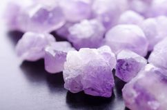 Natural amethyst minerals closeup white background royalty free stock images