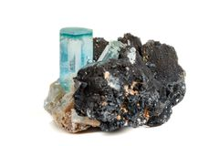 Macro mineral stone Aquamarine and black tourmaline, Schorl on a. White background close up stock photo