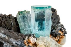 Macro mineral stone Aquamarine and black tourmaline, Schorl on a royalty free stock photography