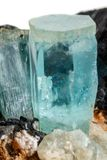 Macro mineral stone Aquamarine and black tourmaline, Schorl on a. White background close up stock images