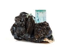 Macro mineral stone Aquamarine and black tourmaline, Schorl on a. White background close up stock image