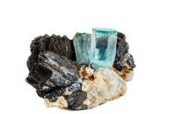 Macro mineral stone Aquamarine and black tourmaline, Schorl on a. White background close up stock photos