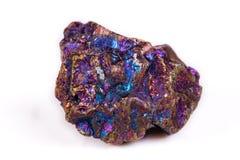 Macro mineral stone Blue Rainbow Titanium Crystal it white backg Royalty Free Stock Photos