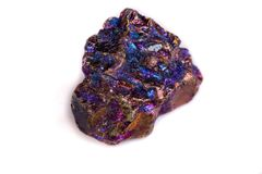 Macro mineral stone Blue Rainbow Titanium Crystal it white backg. Round close up Royalty Free Stock Image