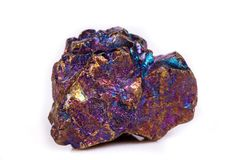 Macro mineral stone Blue Rainbow Titanium Crystal it white backg Royalty Free Stock Photo