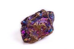 Macro mineral stone Blue Rainbow Titanium Crystal it white backg. Round close up Royalty Free Stock Photos