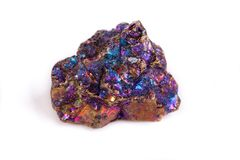 Macro mineral stone Blue Rainbow Titanium Crystal it white backg. Round close up Stock Image