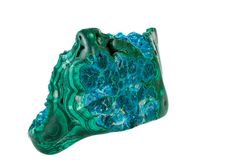Macro of a mineral stone Chrysocolla Malachite on a white background. Close up royalty free stock images