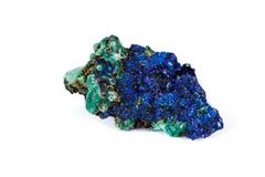 Macro mineral stone Malachite and Azurite against white background. Close up royalty free stock images