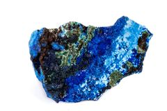 Macro mineral stone Malachite and Azurite against white background. Close up royalty free stock photos