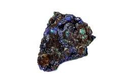 Macro mineral stone Malachite and Azurite against white background. Close up stock photo