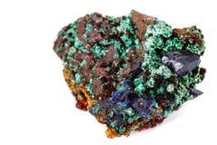 Macro mineral stone Malachite and Azurite against white background. Close up stock image