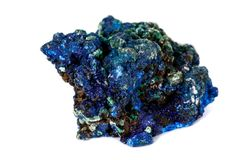Macro mineral stone Malachite and Azurite against white background. Close up stock photography