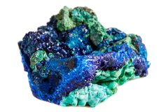 Macro mineral stone malachite with azurite on white background. Close up stock photography