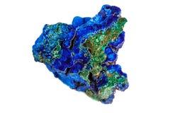 Macro mineral stone malachite with azurite on white background. Close up stock photo