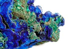 Macro mineral stone malachite with azurite on white background. Close up stock image