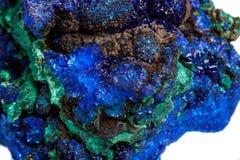 Macro mineral stone malachite with azurite on white background. Close up stock photos