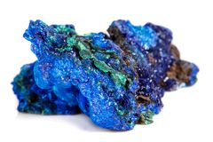 Macro mineral stone malachite with azurite on white background. Close up stock photography