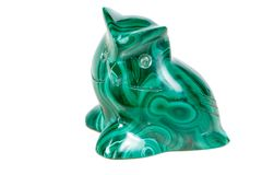Macro mineral stone owl from malachite. Close-up stock photography