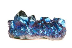 Macro mineral stone Titanium Quartz, Flame Aura Quartz on a whit royalty free stock photos