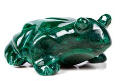 Macro mineral stone toad from malachite. Close-up royalty free stock images