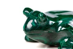 Macro mineral stone toad from malachite. Close-up stock image