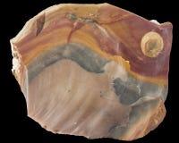 Macro minerale cruda del silice arancio e marrone isolata Fotografia Stock