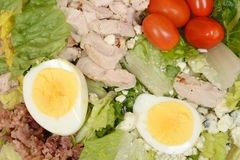 Macro mixed salad with egg bacon chicken Stock Images