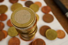 Macro money background made of column of Euro coins Royalty Free Stock Image