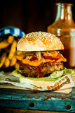 Macro Mouthwatering Burger Quarter Pounder Royalty Free Stock Image