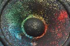 Glitter on loudspeaker Stock Photos