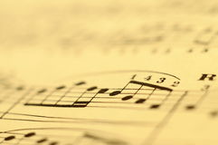 Macro of music score for background Royalty Free Stock Images