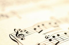 Macro of music score for background Stock Photography
