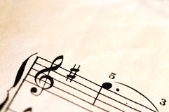 Macro of music score for background Stock Images