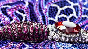 Jewelry with diamonds, extreme close up, not 3D, it`s video shooting only. stock video
