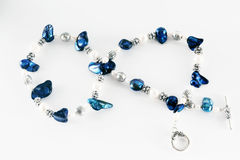 Macro of necklace blue and white Stock Photo