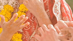 Macro Newlyweds Wear Wedding Rings at Indian Ceremony stock video footage