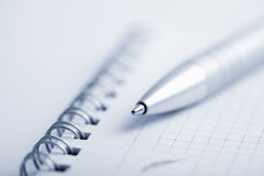 Macro of notebook and pen Stock Photography
