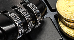 Macro number lock - cyber protection Royalty Free Stock Photo