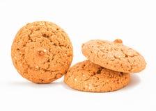 Macro oatmeal cookies isolated on white. stock photo