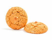Macro oatmeal cookies isolated on white. royalty free stock images