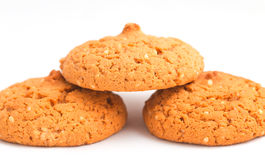 Macro oatmeal cookies isolated on white. stock images