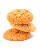 Macro oatmeal cookies isolated on white. royalty free stock photos