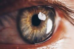 Macro occhi con lo scoppio dei vasi sanguigni rosso sangui bulbo oculare coperto di fine del sangue su Problemi di visione fotografia stock libera da diritti